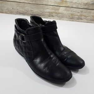 Aquatalia Quilted Black Leather Ankle Boots Winter